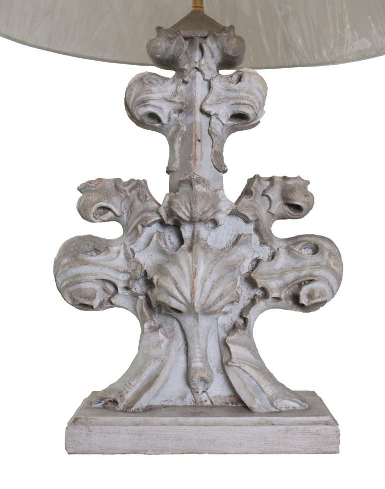 pair of grey painted carved wood architectural element base table lamps at 1stdibs. Black Bedroom Furniture Sets. Home Design Ideas