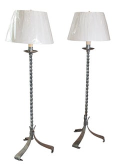 Pair of Silver Plated Twisted Column Floor Lamp