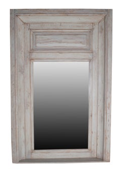 Grey Painted Carved Wood Trumeau Mirror