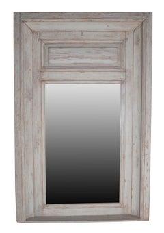 Grey Painted Carved Wood Trumeau Mirror