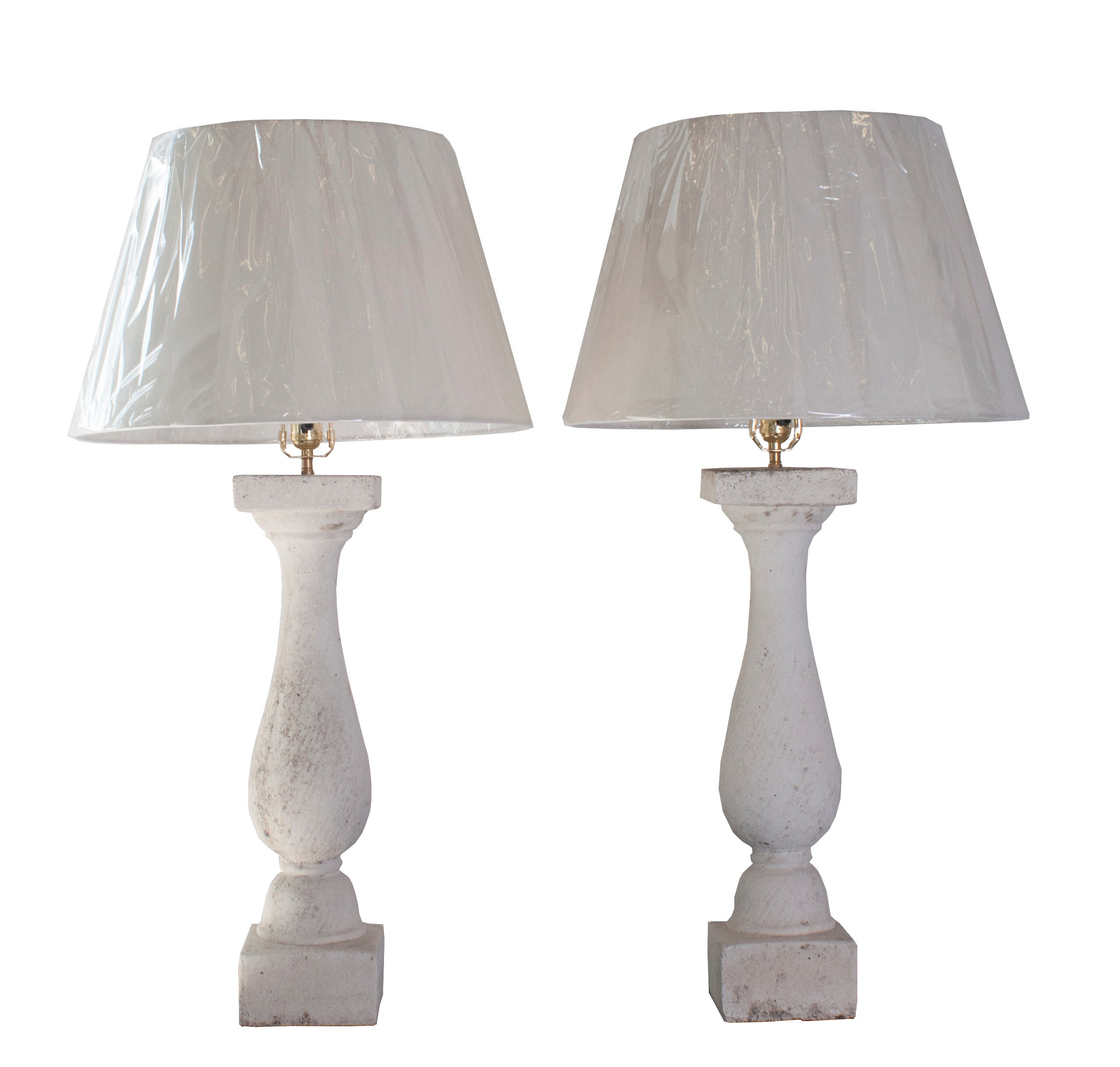 Pair of Composite Stone Baluster Table Lamps with Lichen