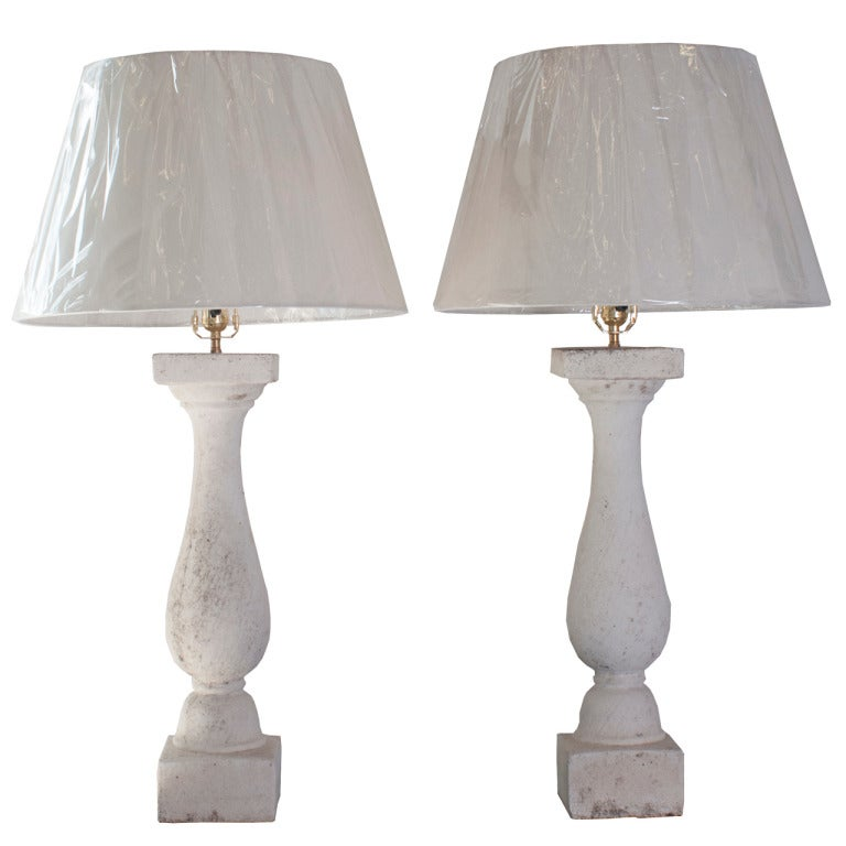 Pair of Composite Stone Baluster Table Lamps