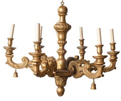 Gilt Carved Wood Six-Arm Chandelier