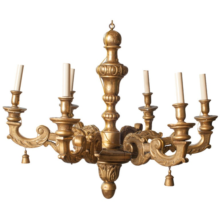 Gilt Carved Wood Six Arm Chandelier For Sale At 1stdibs