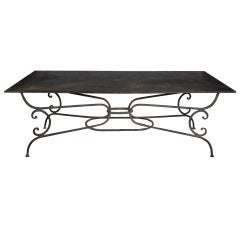 A Large Cast Iron Garden Table With Metal Double Layer Tin Top.