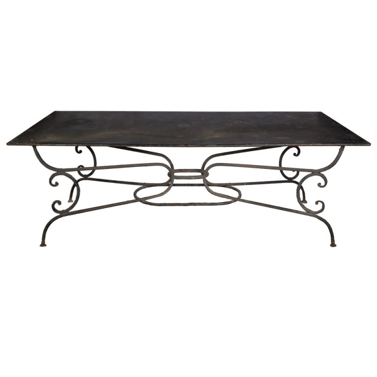A Large Wrought Iron Garden Table With Metal Double Layer Tin Top. For Sale