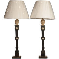 A Pair of Black & White Painted Carved Wood Table Lamps
