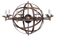 Cast Iron and Bronze Celestial Globe Chandelier