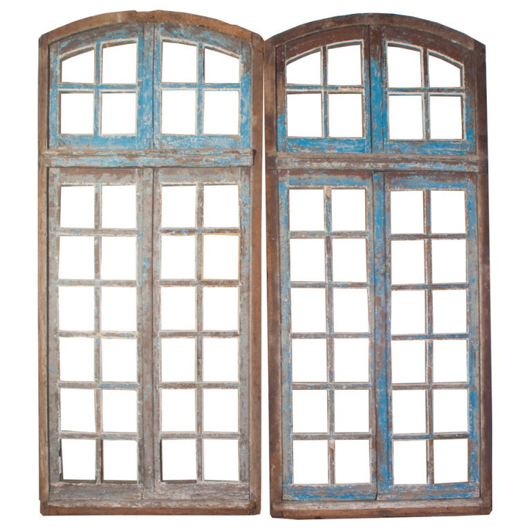 A Pair of Painted Windows For Sale