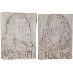 A Pair of Plaster Bas Reliefs of French Philosophers