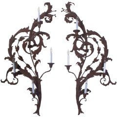 A Pair of Large Wrought Iron Wall Sconces