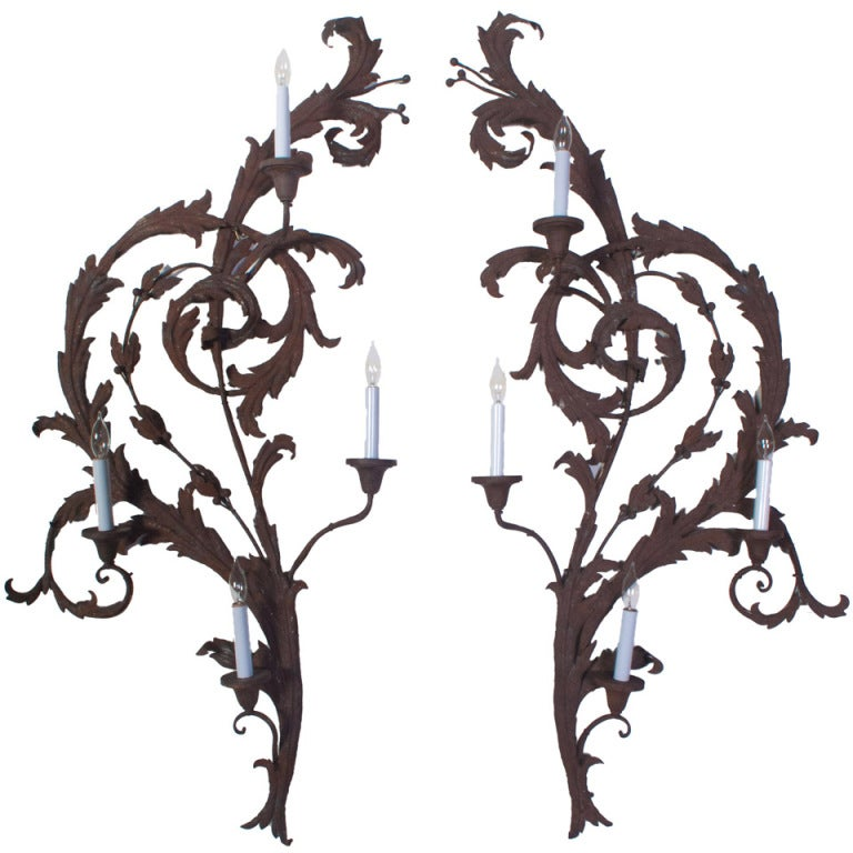 Wrought Iron Sconces Wall Decor : A Pair of Large Wrought Iron Wall Sconces at 1stdibs