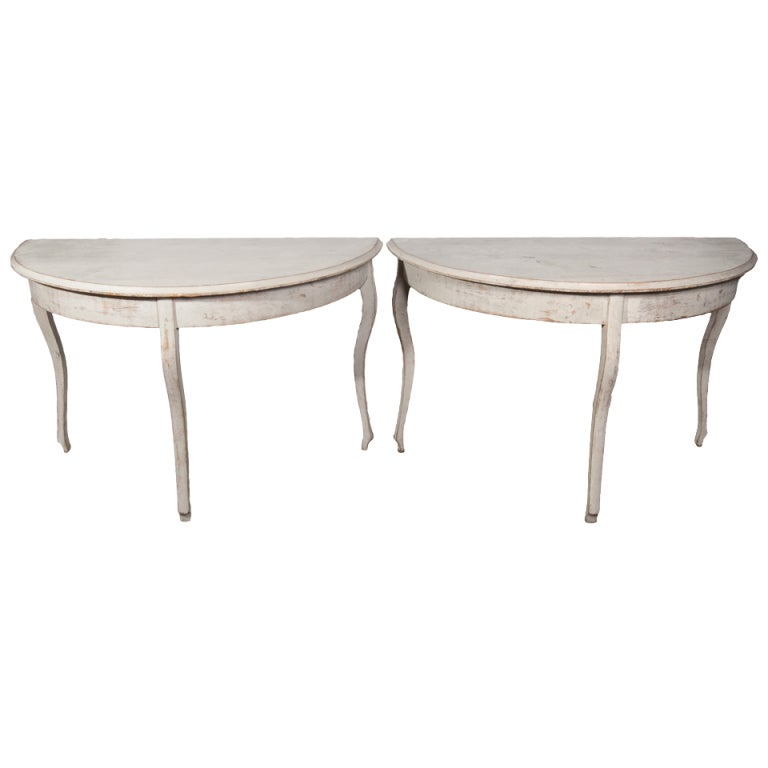 Pair Of Grey Painted Gustavian Demi Lune Tables With Curved Legs 1