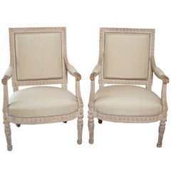 Pair of Unusual Large Square Back Louis XVI Style Fauteuils