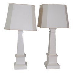 Pair Of White Ceramic Taper Column Table Lamps