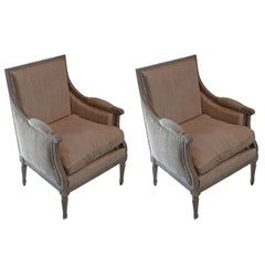 Pair of Painted Louis XVI Bergeres with a Loose Cushion Seat