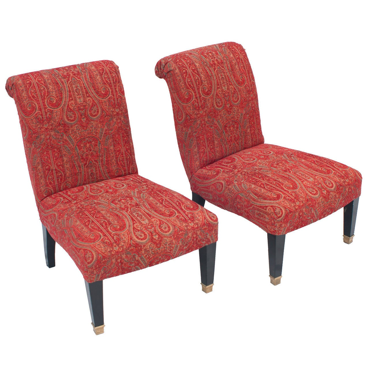 Pair of mid-century Jansen-style Slipper Chairs with Brass Caster Legs