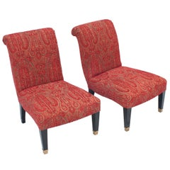 "Pair of ""Jansen"" Slipper Chairs with Brass Caster Legs"