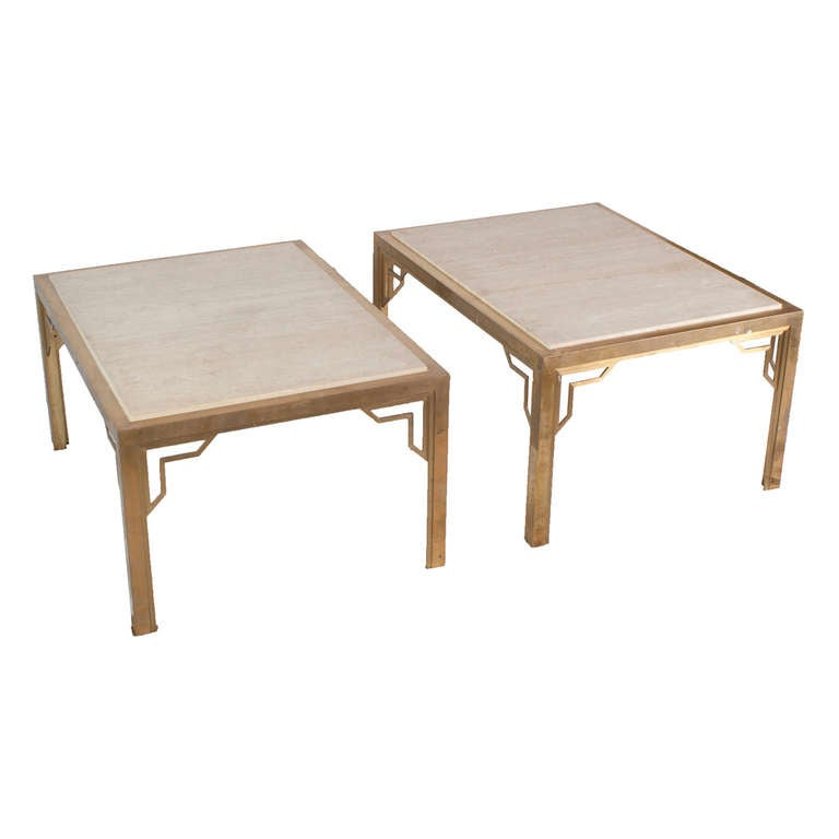 Pair of Brass End-Sofa Tables with Travertine Tops