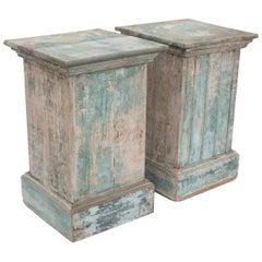Pair of Painted Blue Pedestals