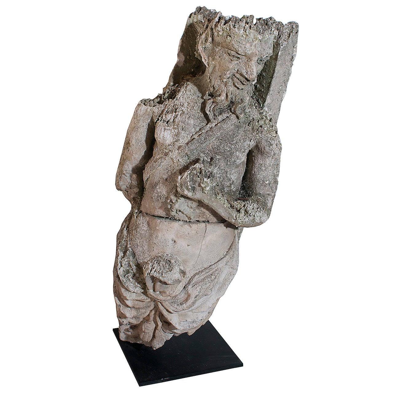Limestone Sculpture of a Faun