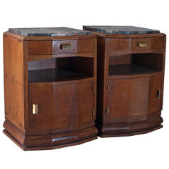 Pair of Chevets in Rare Loupe d'orme (Burr Elm) Wood with Marble Tops