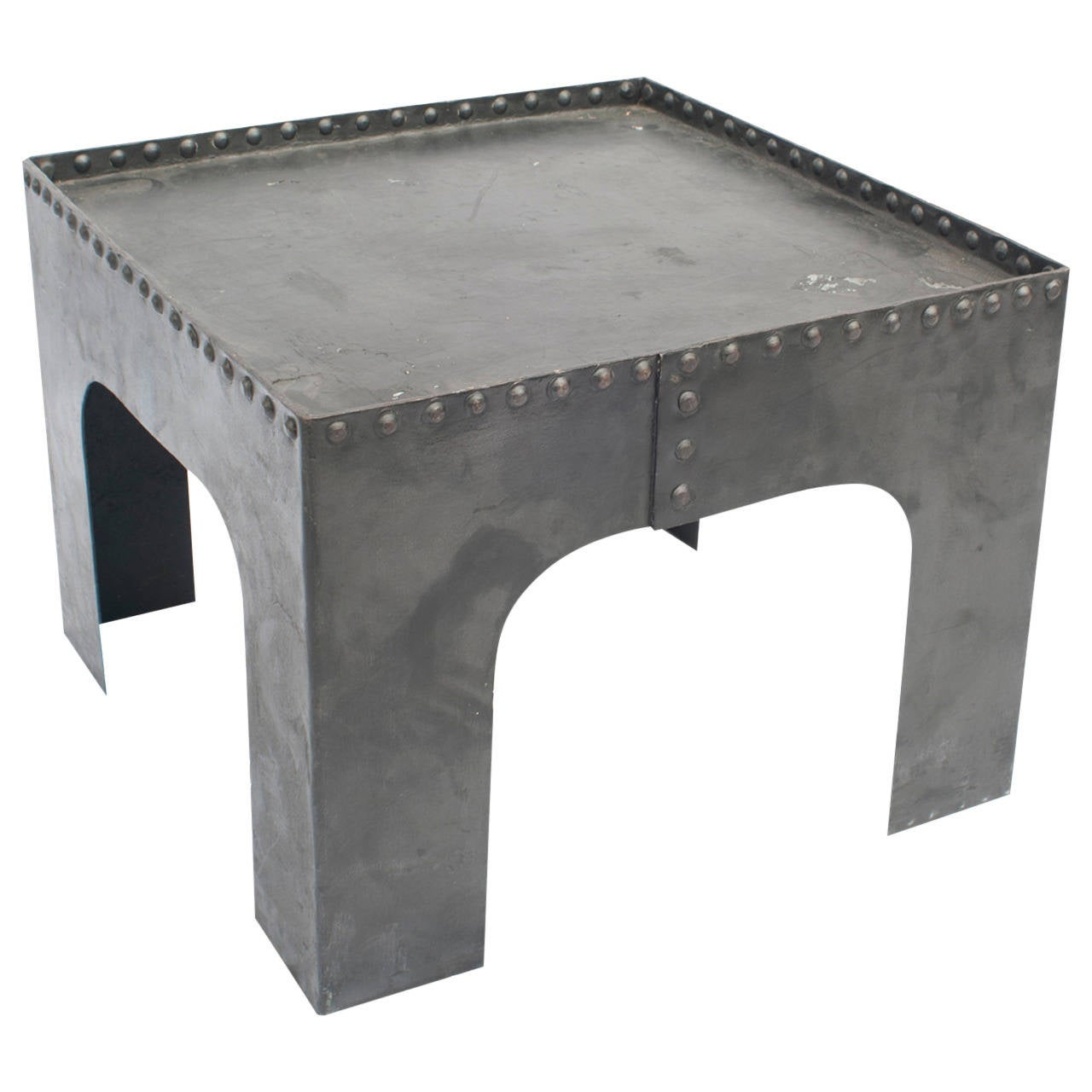 Small square industrial metal coffee table for sale at 1stdibs Industrial metal coffee table
