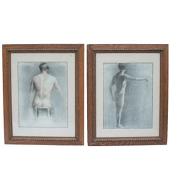 Pair of Academic Drawings of a Man's Back