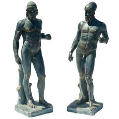 Pair of Black Plaster Statues, Copies of Antiquity in Museum of Archaeology