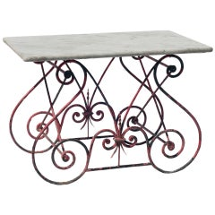 Red Wrought Iron Pastry Table