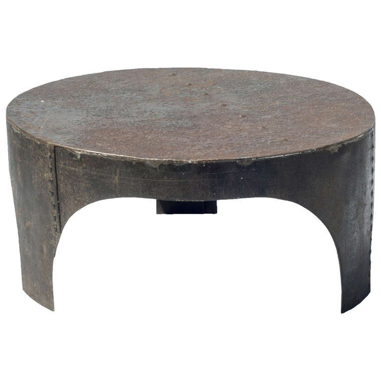 Round Industrial Style Coffee Table For Sale