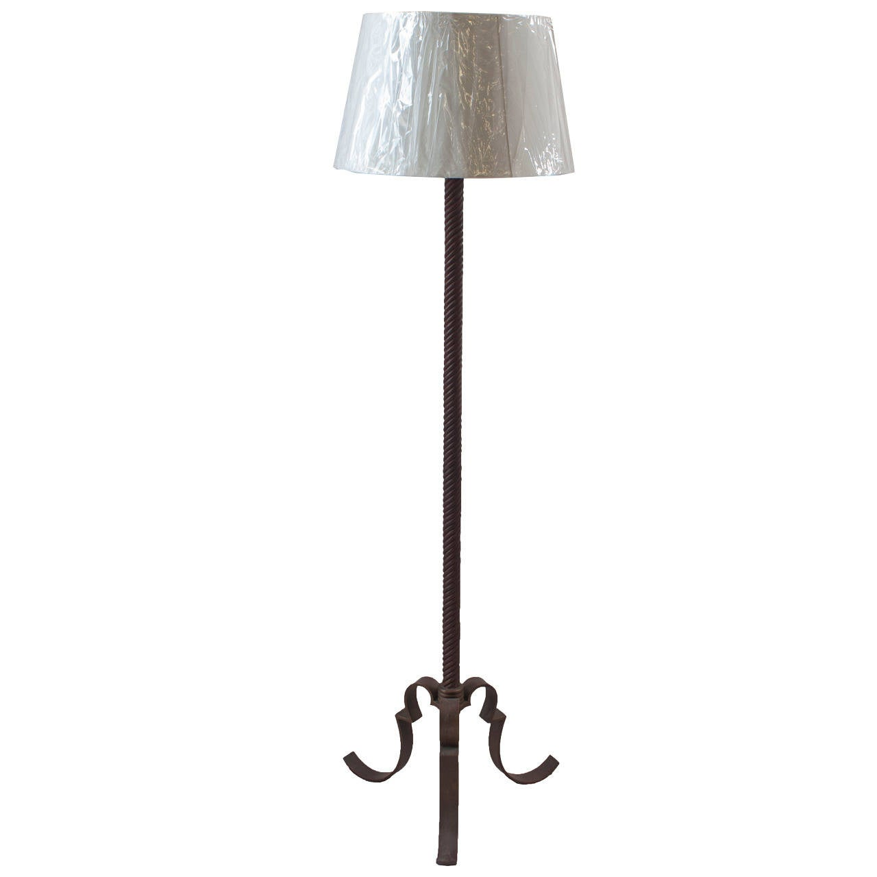 single wrought iron floor lamp for sale at 1stdibs. Black Bedroom Furniture Sets. Home Design Ideas
