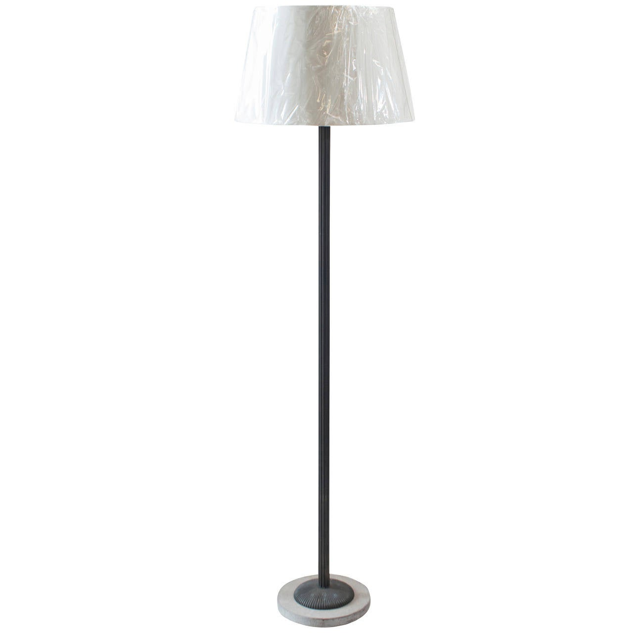 Black Metal Floor Lamp With Marble Base For Sale At 1stdibs