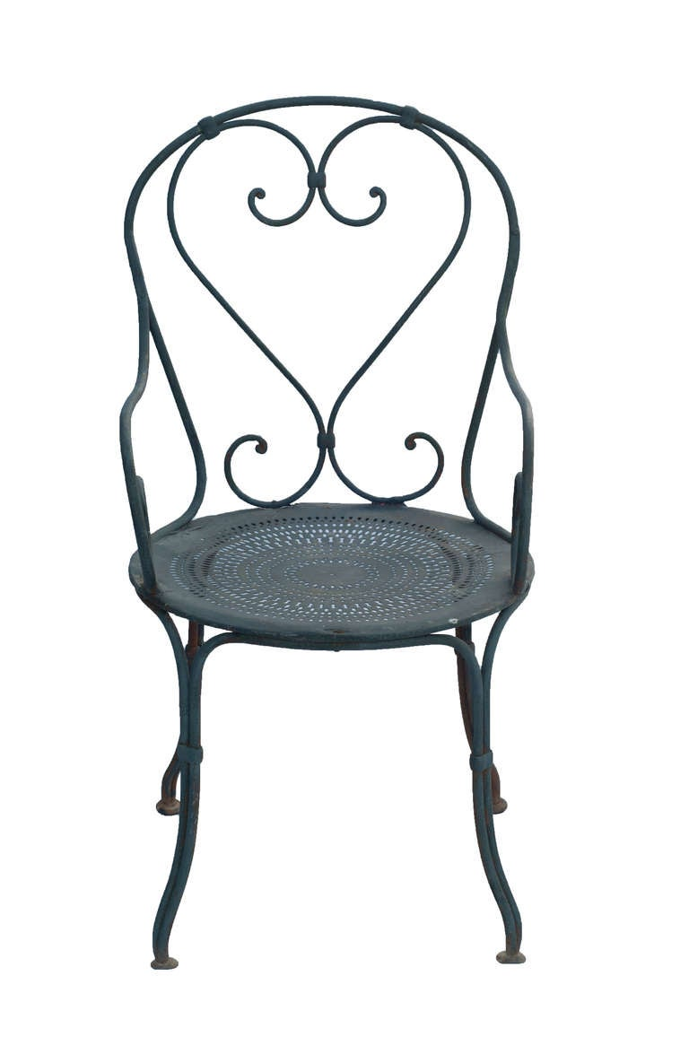 Pair of grey painted french bistro wrought iron garden for Wrought iron cafe chairs