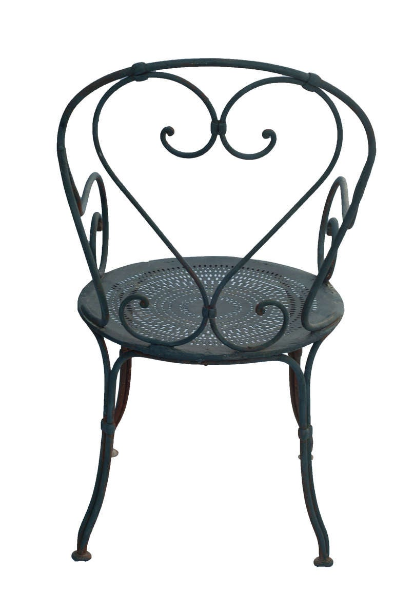 Pair Of Grey Painted French Bistro Wrought Iron Garden Chairs At 1stdibs
