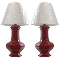 Pair of Reddish Brown Ceramic Lamps