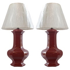 Pair of Reddish Brown Ceramic Lamps