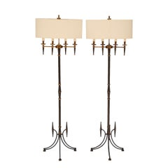 Pair of Standing Floor Lamps In the Style of Mathieu Mategot