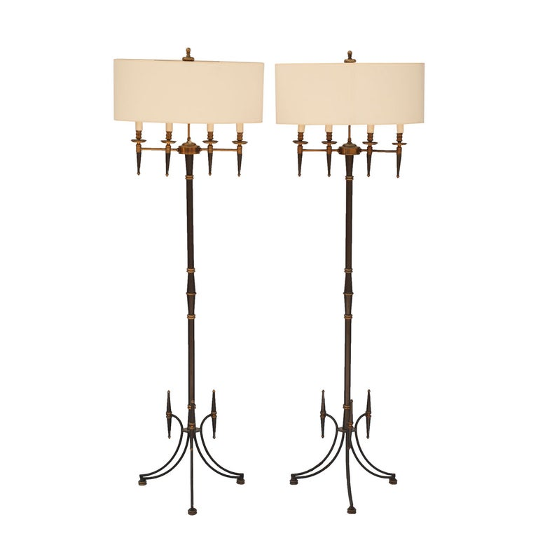 Pair of Standing Floor Lamps In the Style of Mathieu Mategot For Sale