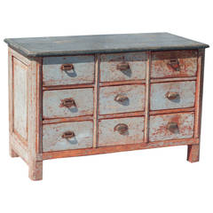 Red and Grey Painted Nine-Drawer Chest