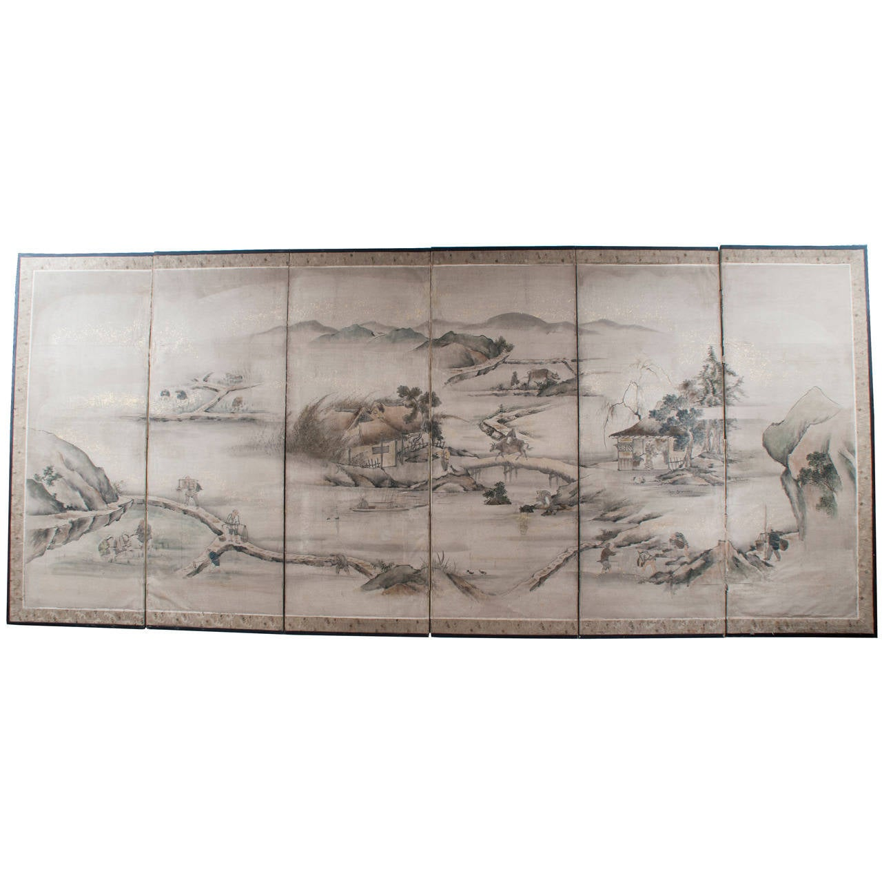 Six-Panel Japanese Screen Depicting a Chinese Landscape