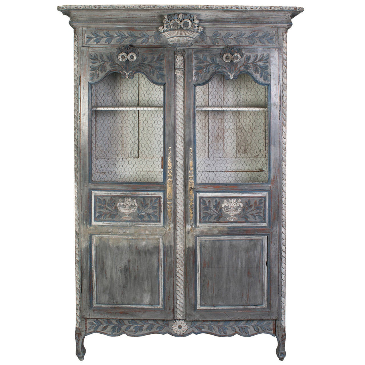 Grey Painted Normandy Armoire In Carved Oak And Pine At