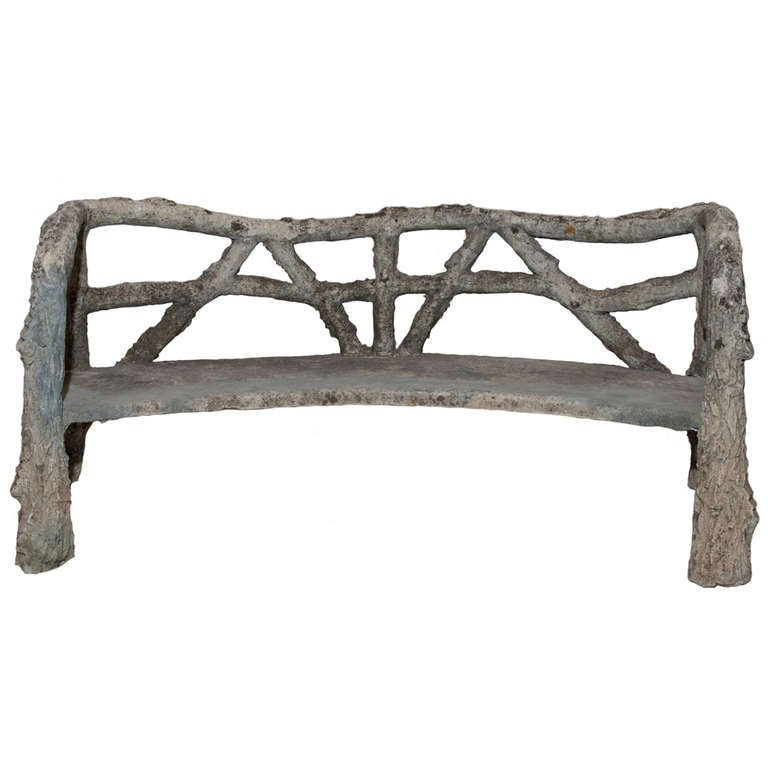 An Unusual semi Circular Faux Bois Bench From Ile De France For Sale