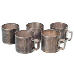 Set of 18 Silver Plated Beer Mugs, Sold Separately