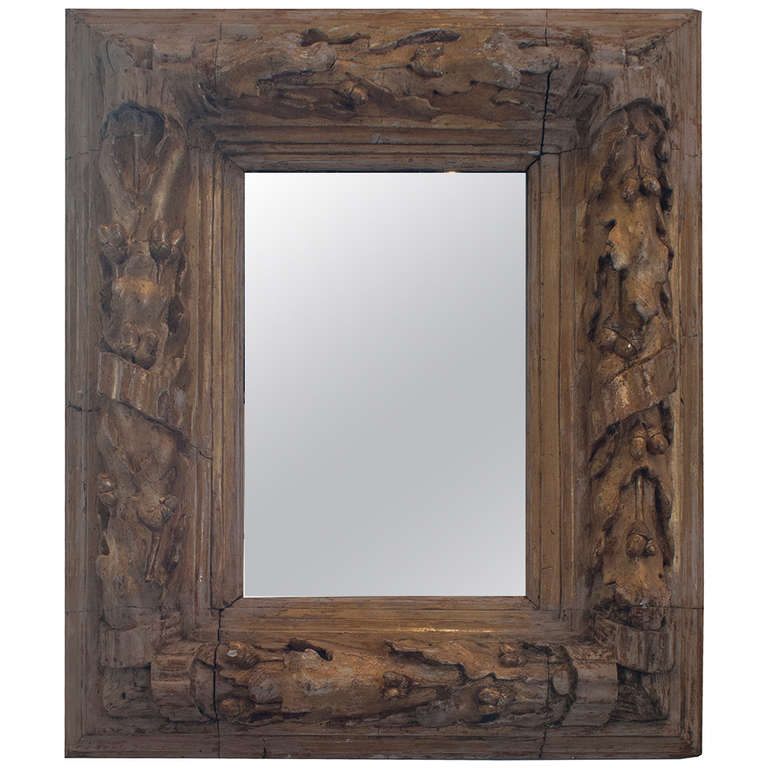 Gilt carved wood oak leaf and acorn framed mirror for