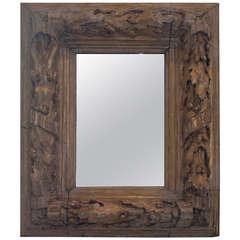 Gilt Carved Wood, Oak Leaf and Acorn Framed Mirror