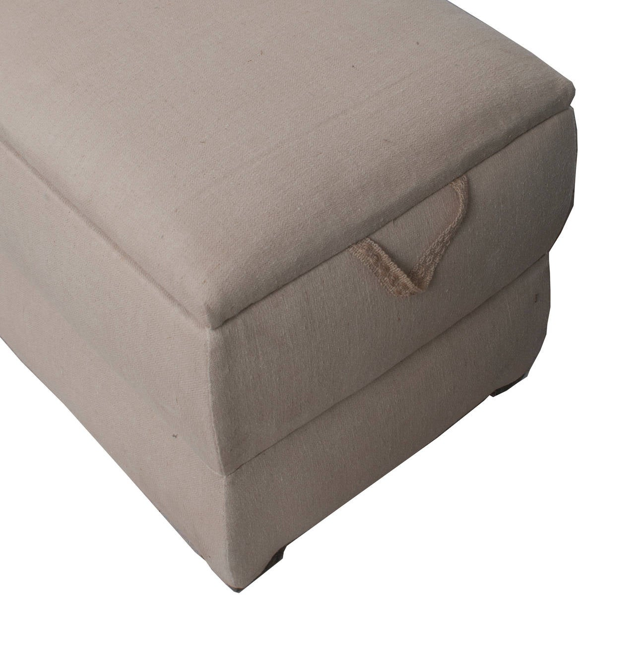 Pair of Italian trunks upholstered in antique white linen.