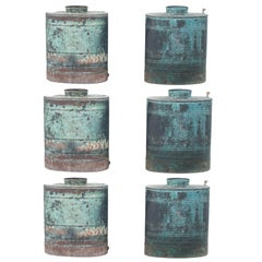 Set of Six Blue Oxidized Container or Vessels