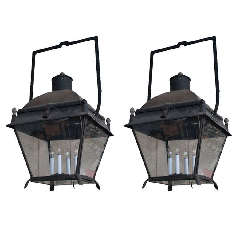 Matched Pair of Black Painted Lanterns