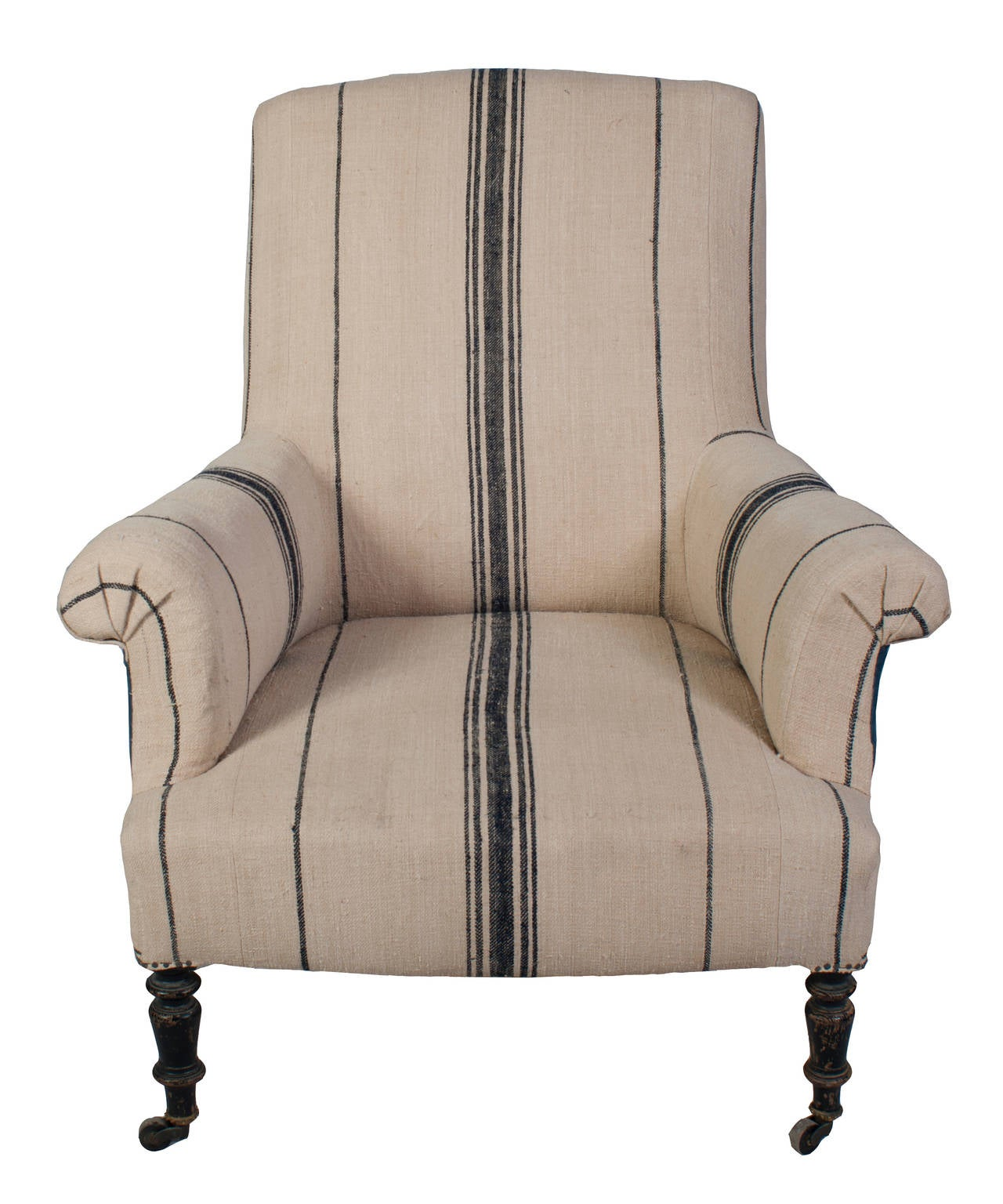 napoleon iii fauteuil and foot stool covered in blue band antique hemp for sale at 1stdibs. Black Bedroom Furniture Sets. Home Design Ideas